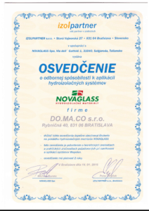 Certifikát Novaglass