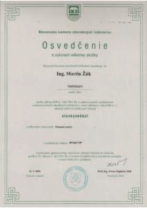Certifikát stavbyvedúci